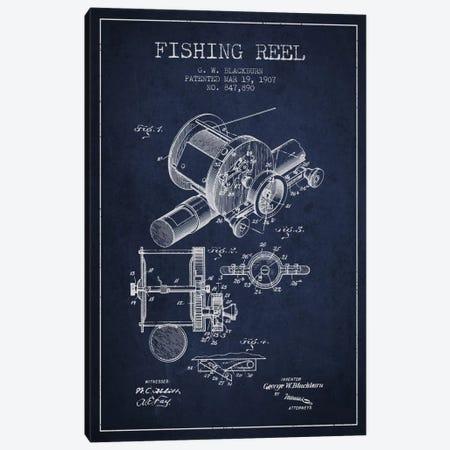 Fishing Reel Navy Blue Patent Blueprint Canvas Print #ADP1226} by Aged Pixel Art Print