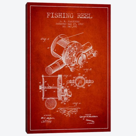 Fishing Reel Red Patent Blueprint Canvas Print #ADP1227} by Aged Pixel Canvas Art Print