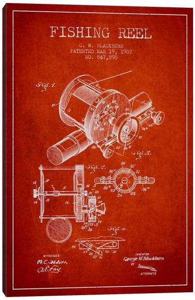 Fishing Reel Red Patent Blueprint Canvas Art Print