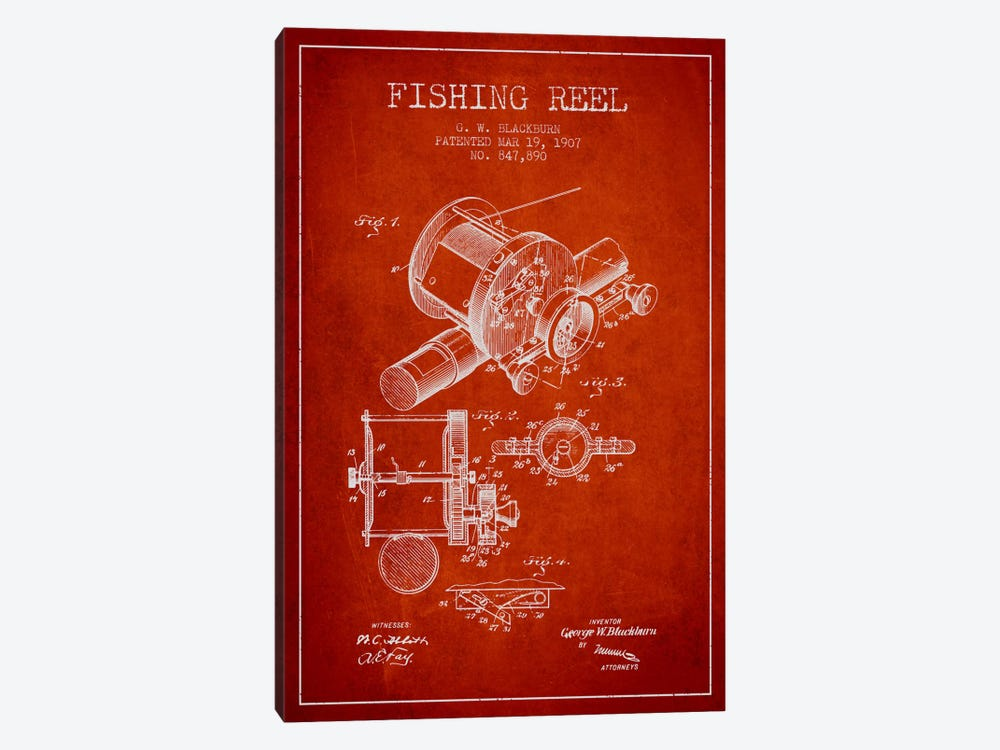 Fishing Reel Red Patent Blueprint by Aged Pixel 1-piece Canvas Art