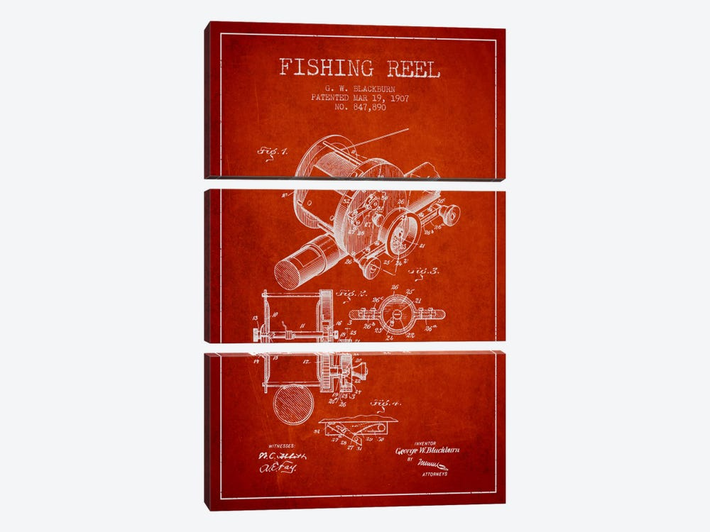 Fishing Reel Red Patent Blueprint 3-piece Canvas Artwork