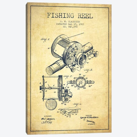 Fishing Reel Vintage Patent Blueprint Canvas Print #ADP1228} by Aged Pixel Canvas Artwork
