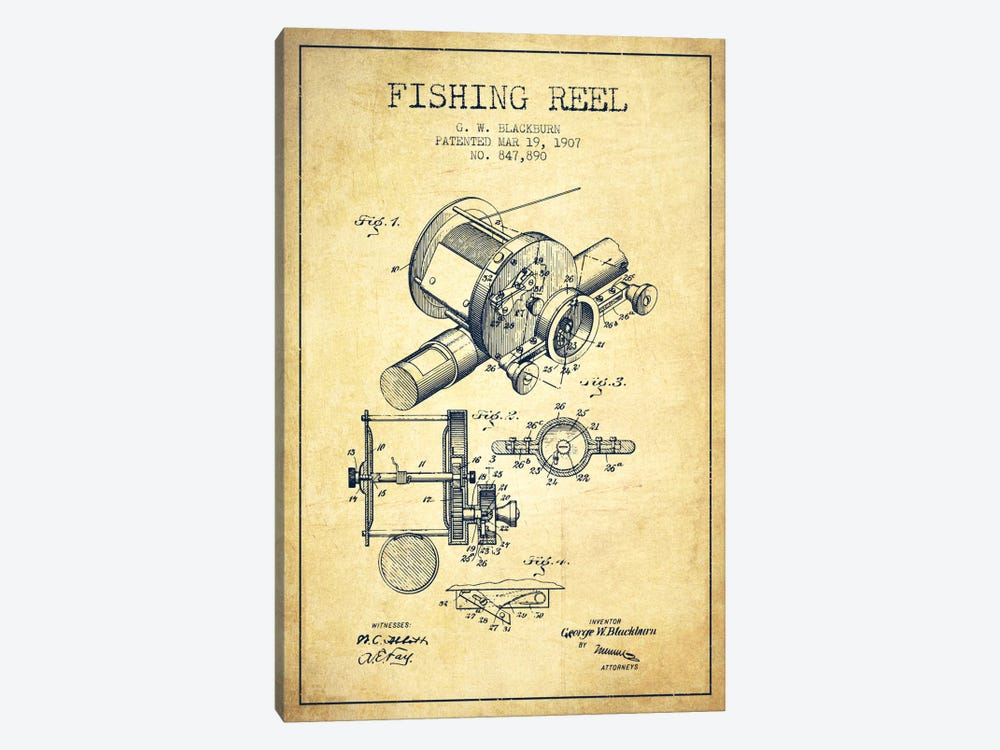 Fishing Reel Vintage Patent Blueprint by Aged Pixel 1-piece Canvas Print