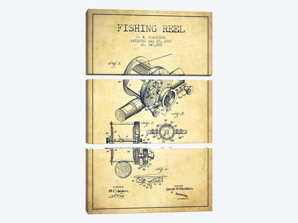 Fishing Reel Vintage Patent Blueprint by Aged Pixel 3-piece Canvas Art Print