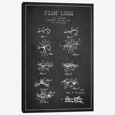 Fish Lure Charcoal Patent Blueprint Canvas Print #ADP1229} by Aged Pixel Canvas Art