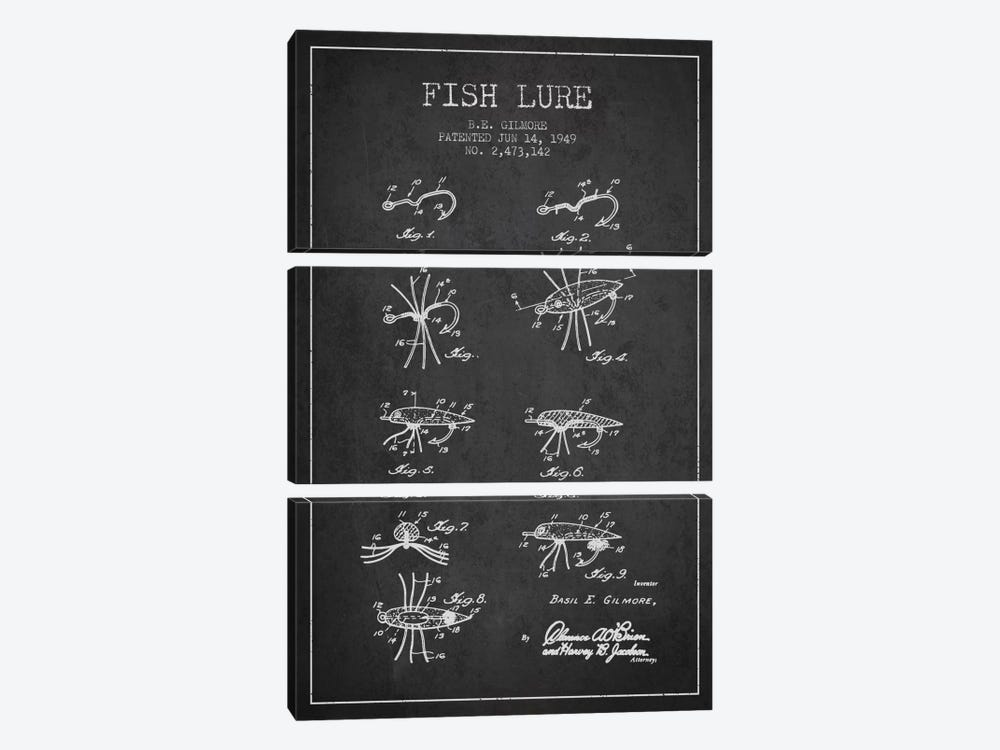 Fish Lure Charcoal Patent Blueprint by Aged Pixel 3-piece Canvas Wall Art
