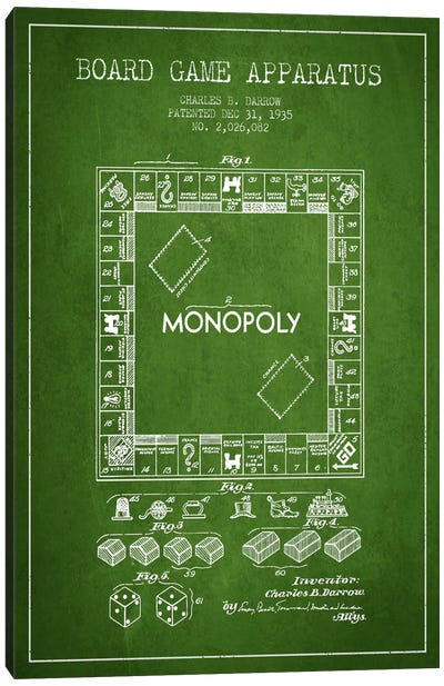 Monopoly Green Patent Blueprint Canvas Art Print