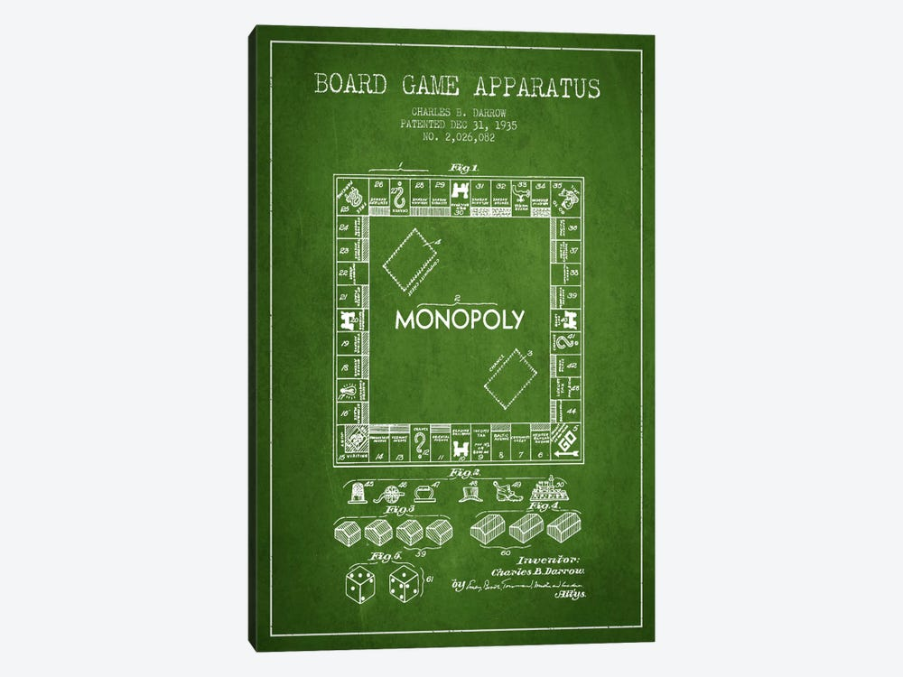 Monopoly Green Patent Blueprint by Aged Pixel 1-piece Canvas Wall Art