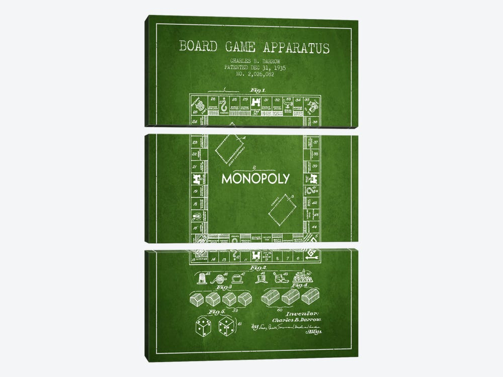 Monopoly Green Patent Blueprint by Aged Pixel 3-piece Canvas Wall Art