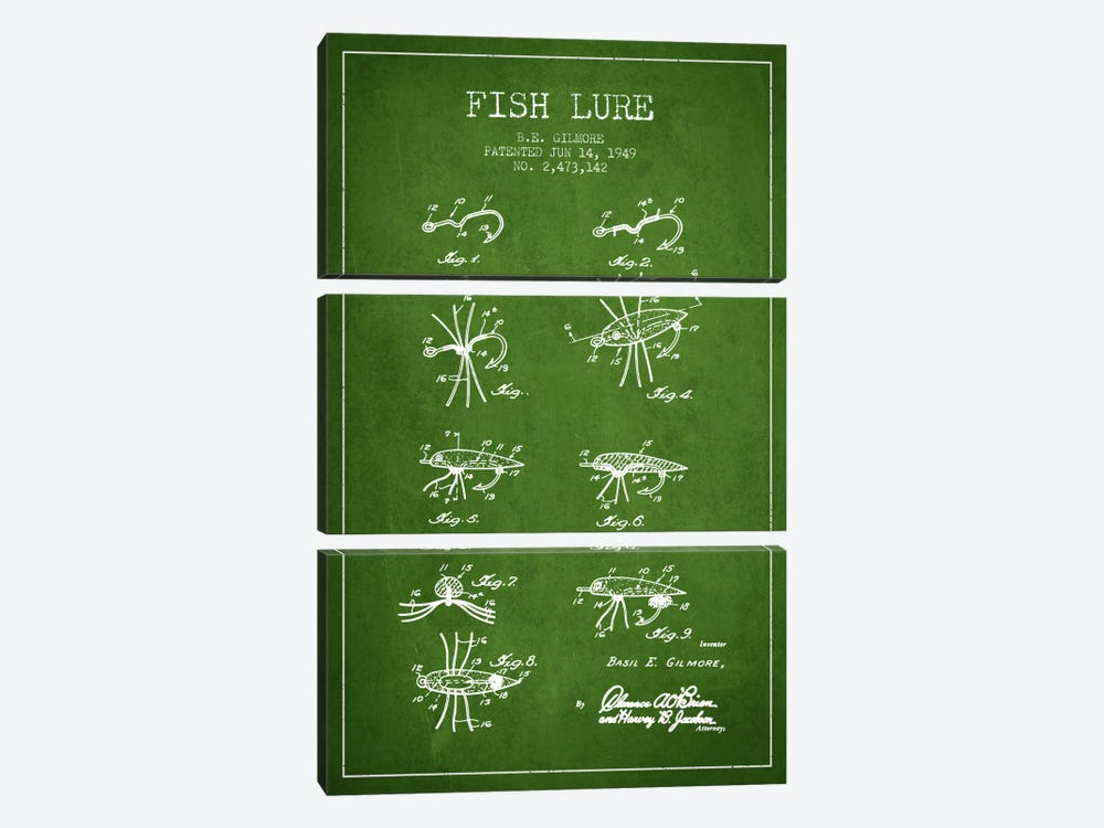 Fish Lure Green Patent Blueprint by Aged Pixel 3-piece Canvas Art