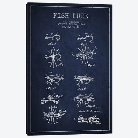 Fish Lure Navy Blue Patent Blueprint Canvas Print #ADP1231} by Aged Pixel Art Print