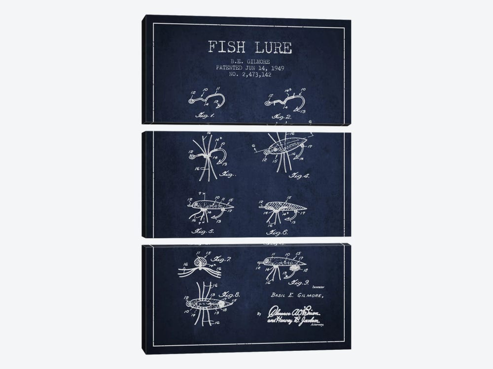 Fish Lure Navy Blue Patent Blueprint by Aged Pixel 3-piece Art Print