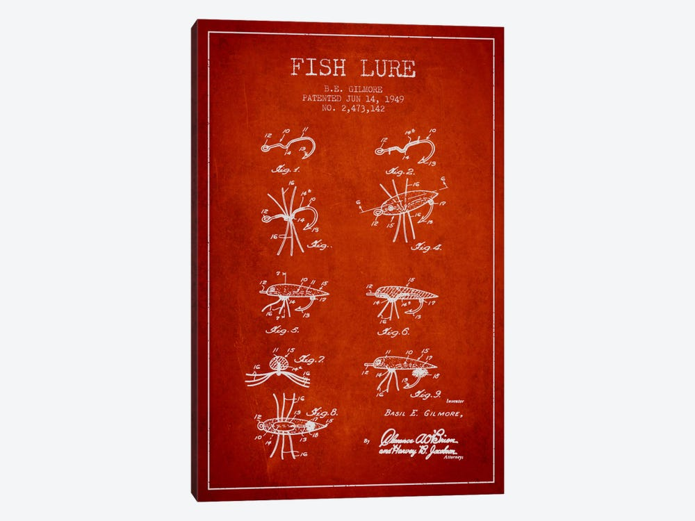 Fish Lure Red Patent Blueprint by Aged Pixel 1-piece Canvas Artwork