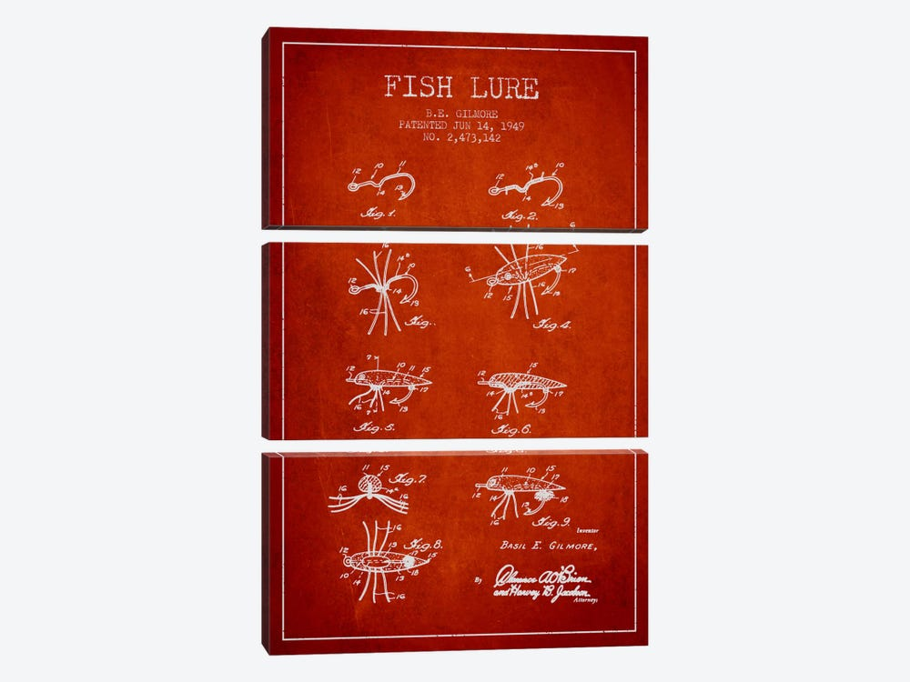 Fish Lure Red Patent Blueprint by Aged Pixel 3-piece Canvas Art