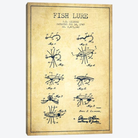 Fish Lure Vintage Patent Blueprint Canvas Print #ADP1233} by Aged Pixel Canvas Print