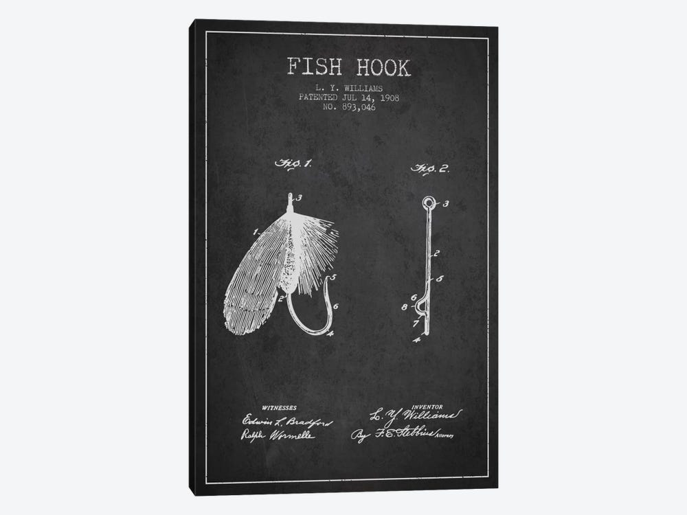 Fish Hook Charcoal Patent Blueprint by Aged Pixel 1-piece Canvas Artwork
