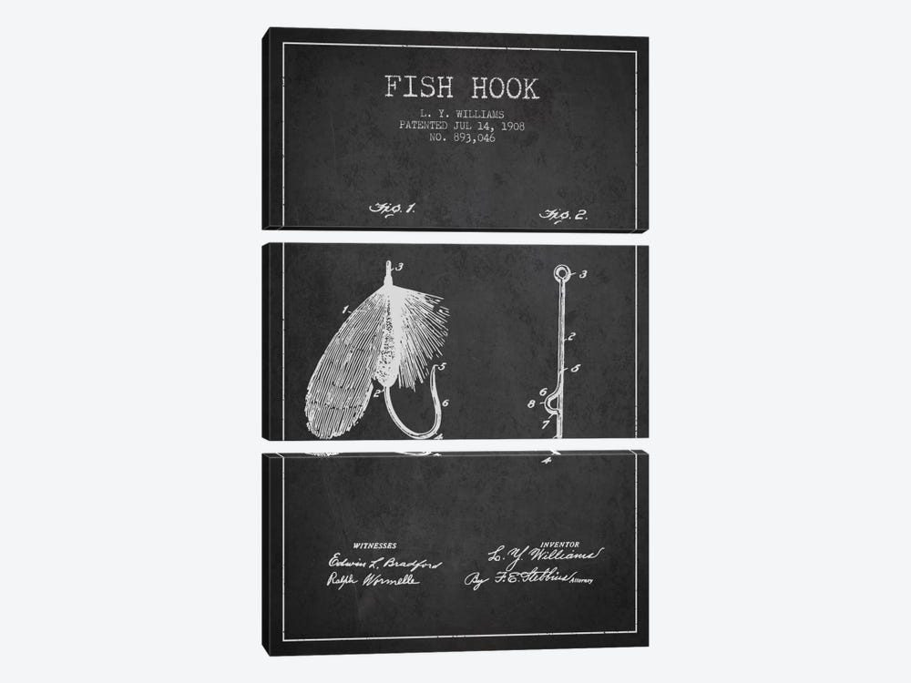 Fish Hook Charcoal Patent Blueprint by Aged Pixel 3-piece Canvas Wall Art
