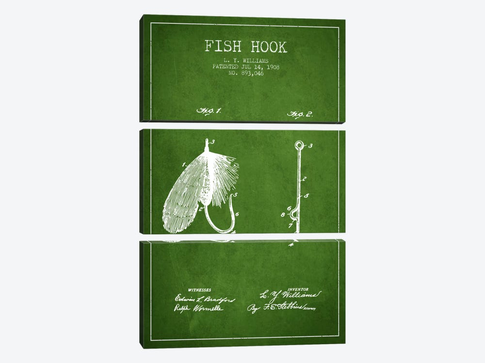 Fish Hook Green Patent Blueprint by Aged Pixel 3-piece Canvas Print