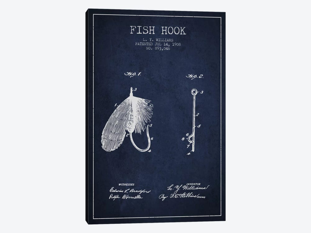 Fish Hook Navy Blue Patent Blueprint by Aged Pixel 1-piece Canvas Artwork