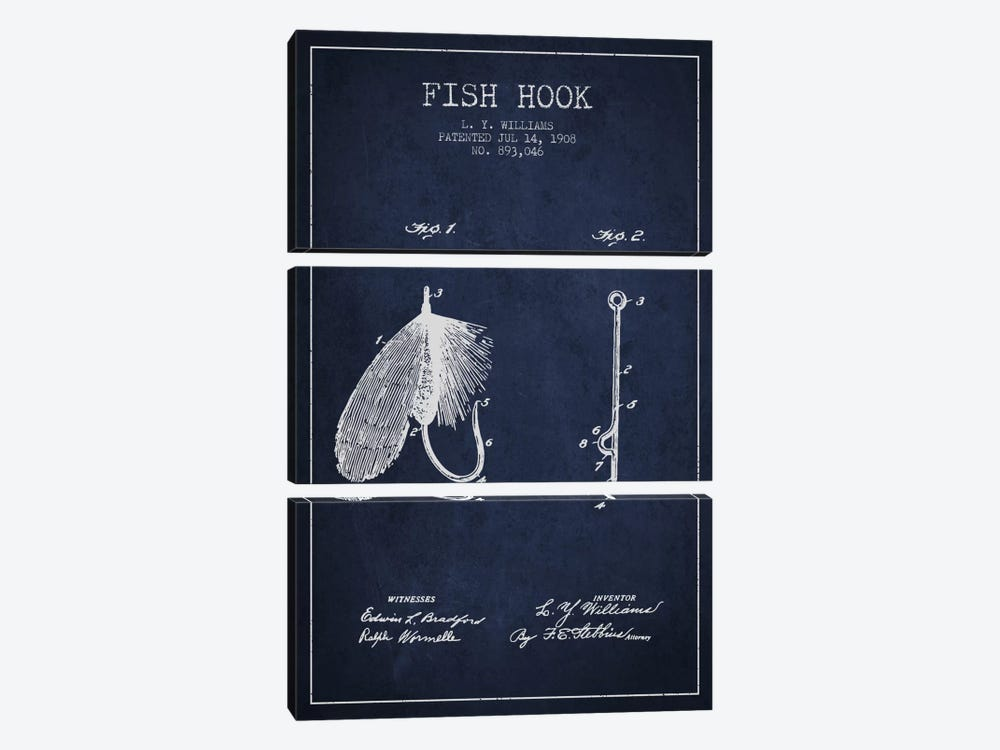 Fish Hook Navy Blue Patent Blueprint by Aged Pixel 3-piece Canvas Artwork