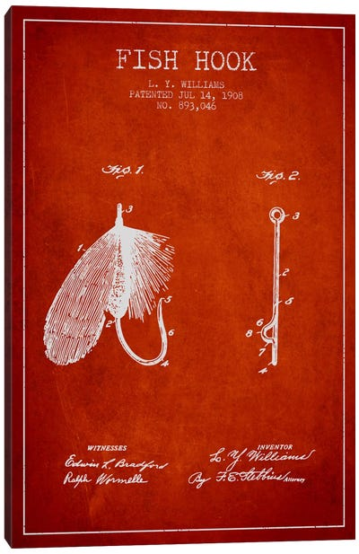 Fish Hook Red Patent Blueprint Canvas Art Print