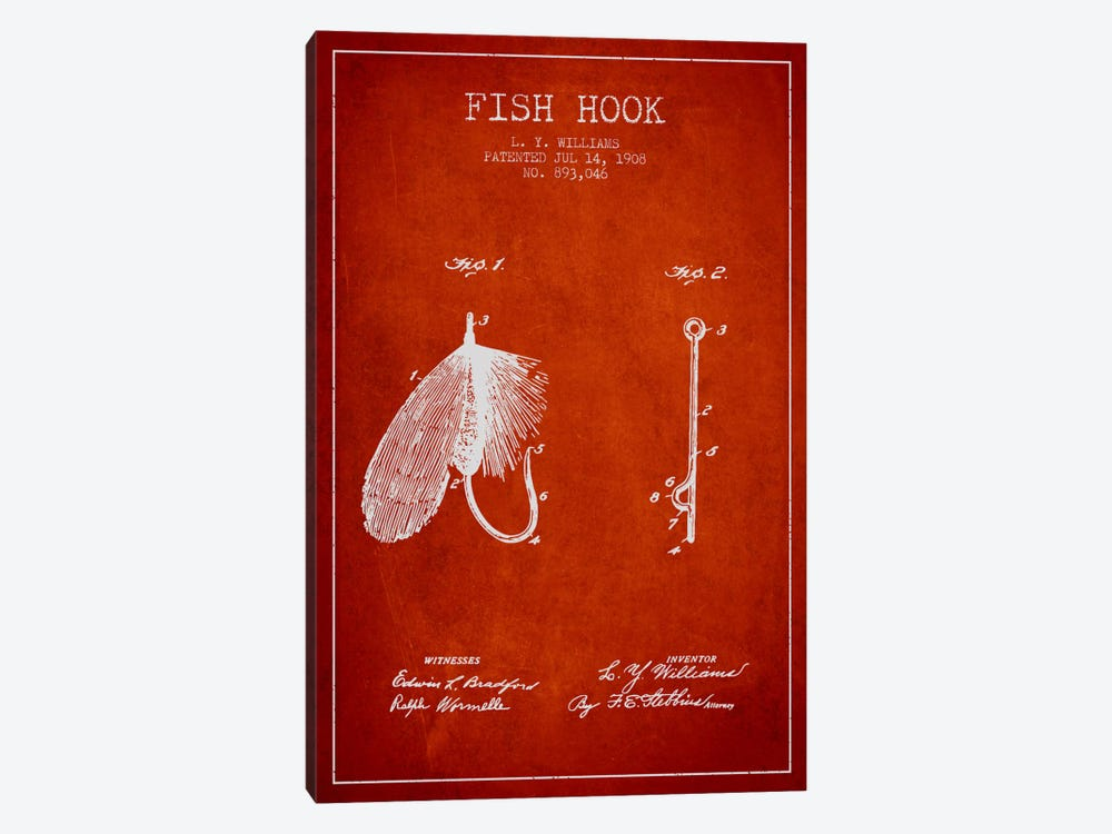 Fish Hook Red Patent Blueprint by Aged Pixel 1-piece Art Print