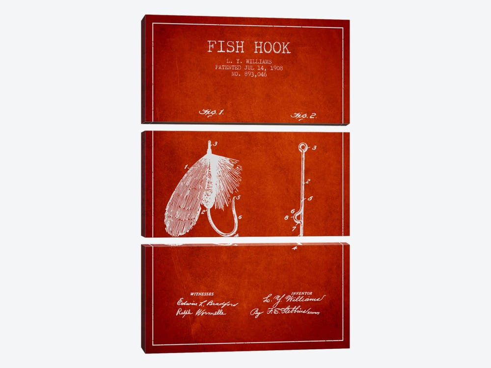 Fish Hook Red Patent Blueprint by Aged Pixel 3-piece Canvas Print