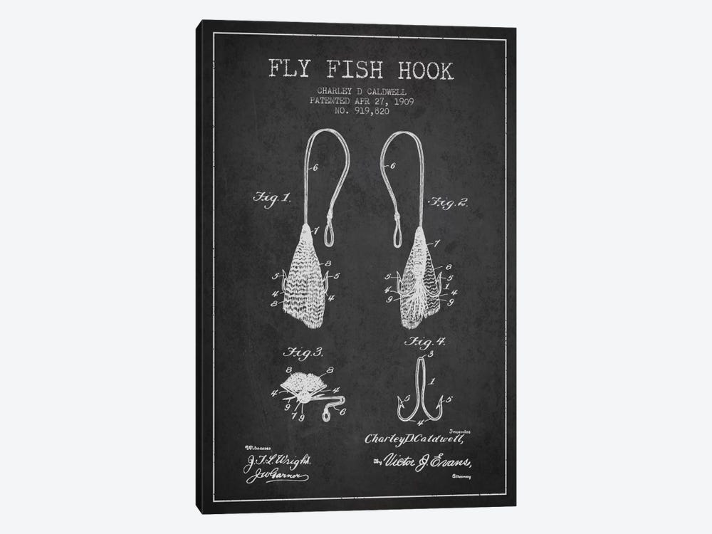 Flyfish Hook Charcoal Patent Blueprint by Aged Pixel 1-piece Art Print
