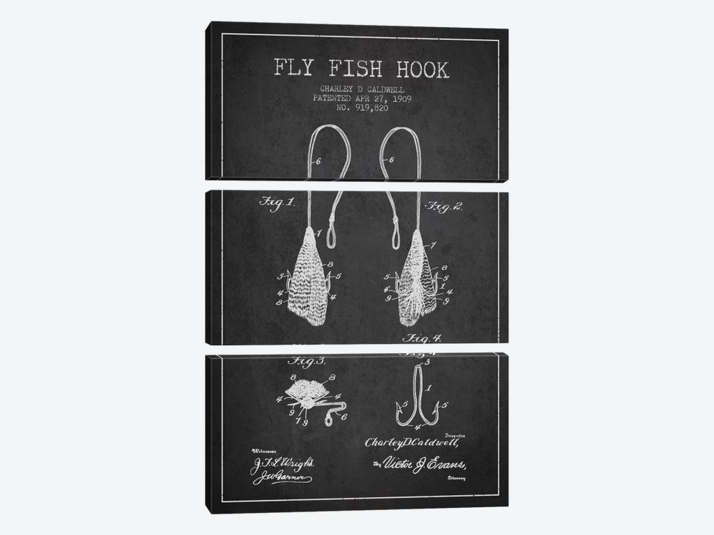 Flyfish Hook Charcoal Patent Blueprint by Aged Pixel 3-piece Canvas Print
