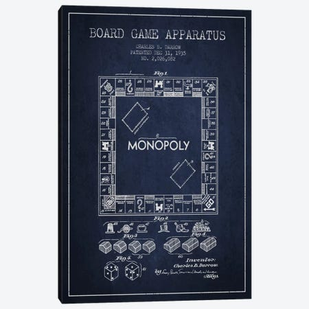 Monopoly Navy Blue Patent Blueprint Canvas Print #ADP123} by Aged Pixel Canvas Artwork