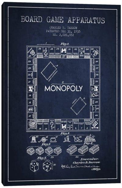 Monopoly Navy Blue Patent Blueprint Canvas Print #ADP123