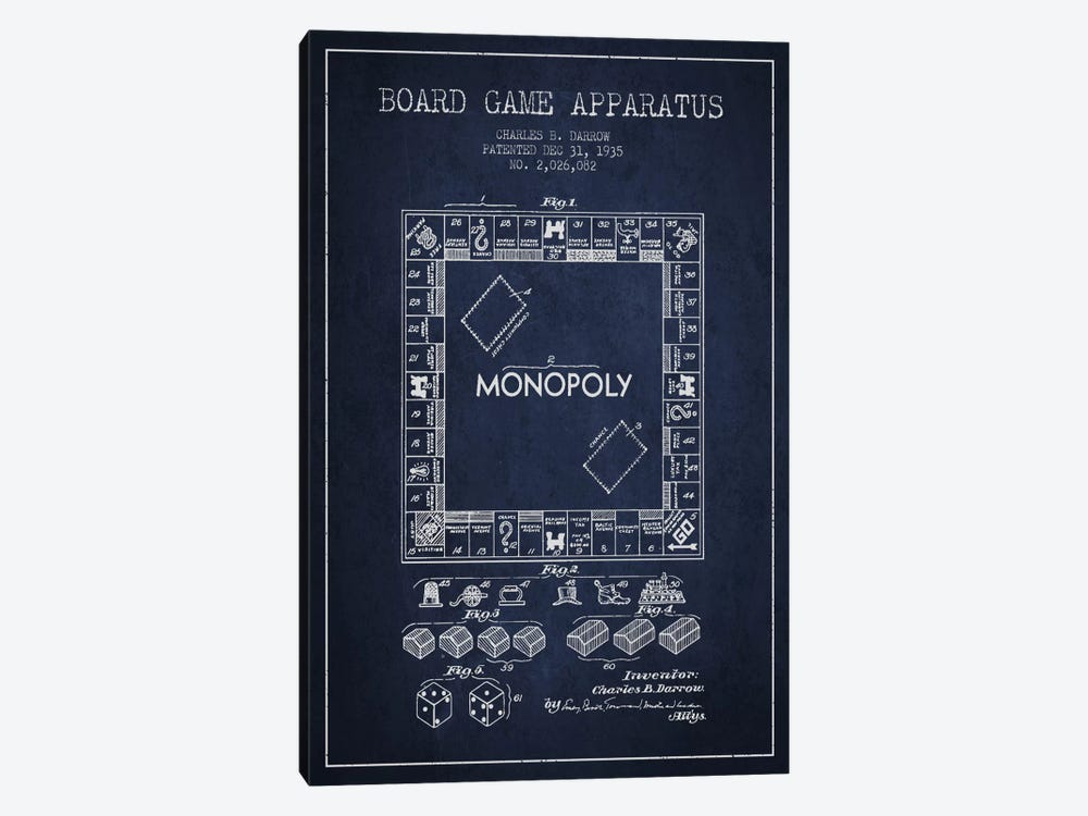 Monopoly Navy Blue Patent Blueprint by Aged Pixel 1-piece Art Print