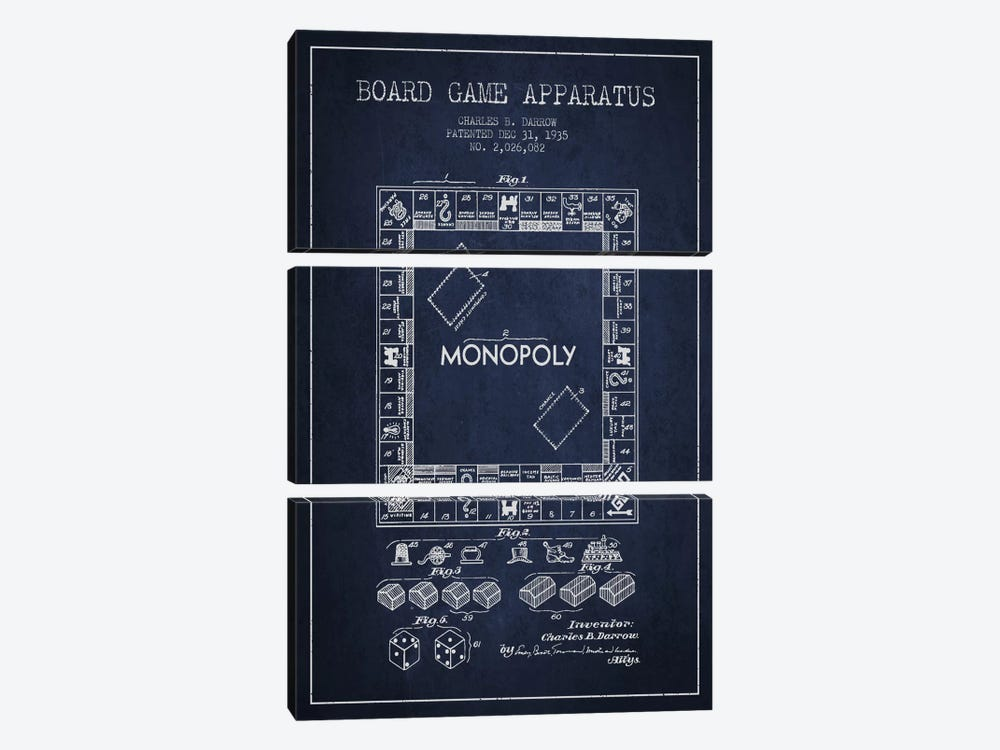 Monopoly Navy Blue Patent Blueprint by Aged Pixel 3-piece Canvas Print