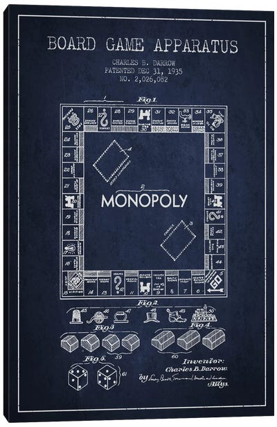 Monopoly Navy Blue Patent Blueprint Canvas Art Print