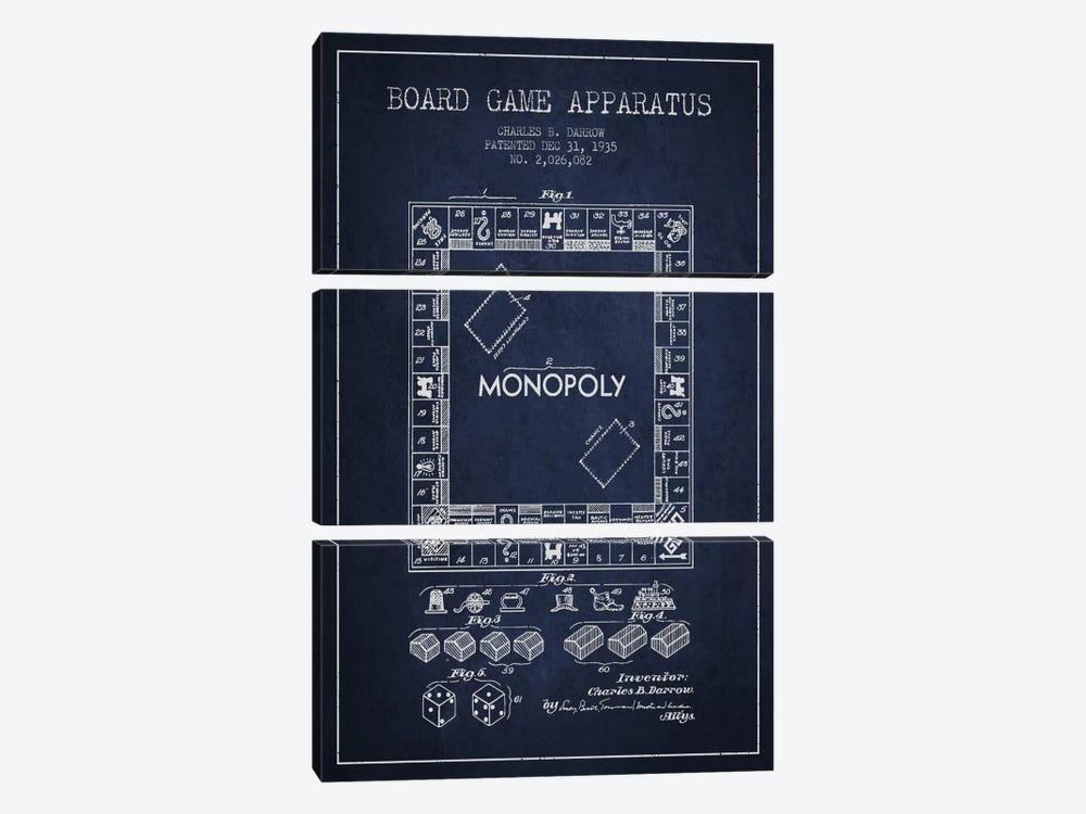 Monopoly Navy Blue Patent Blueprint by Aged Pixel 3-piece Canvas Print