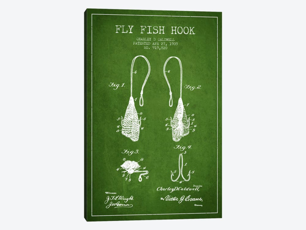 Flyfish Hook Green Patent Blueprint by Aged Pixel 1-piece Canvas Print