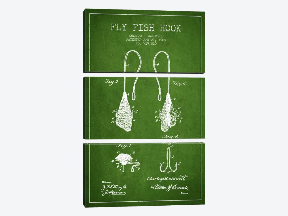 Flyfish Hook Green Patent Blueprint by Aged Pixel 3-piece Art Print
