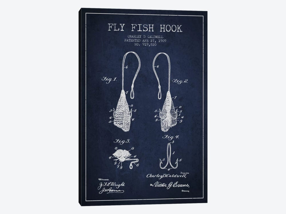 Flyfish Hook Navy Blue Patent Blueprint by Aged Pixel 1-piece Canvas Wall Art