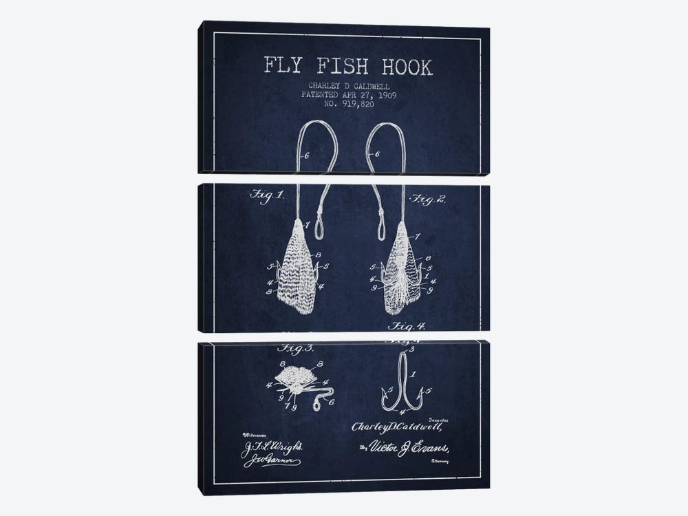 Flyfish Hook Navy Blue Patent Blueprint by Aged Pixel 3-piece Canvas Wall Art
