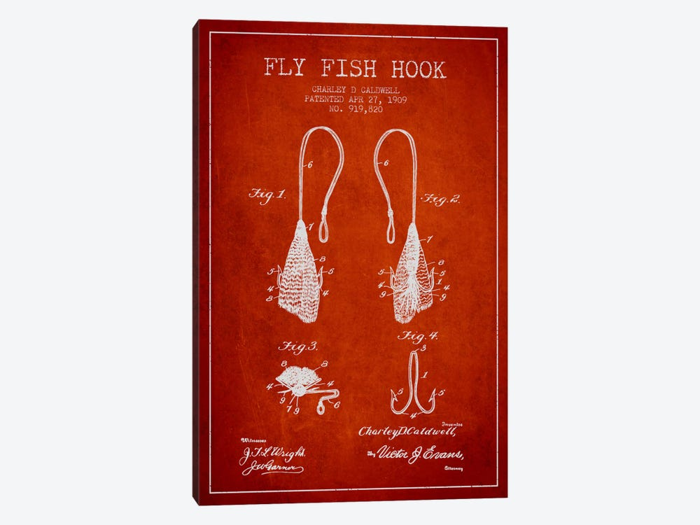 Flyfish Hook Red Patent Blueprint by Aged Pixel 1-piece Canvas Print