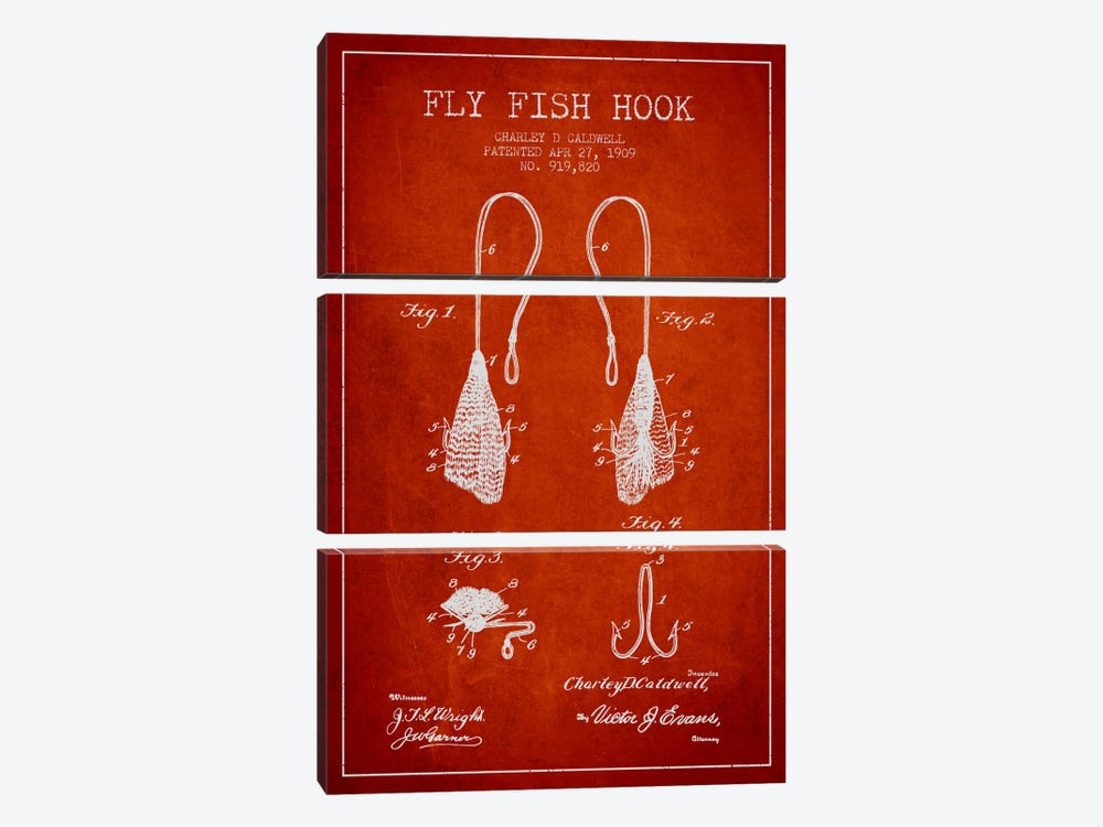 Flyfish Hook Red Patent Blueprint by Aged Pixel 3-piece Art Print