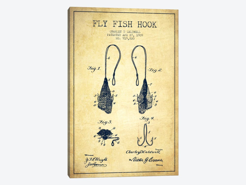 Flyfish Hook Vintage Patent Blueprint by Aged Pixel 1-piece Canvas Wall Art