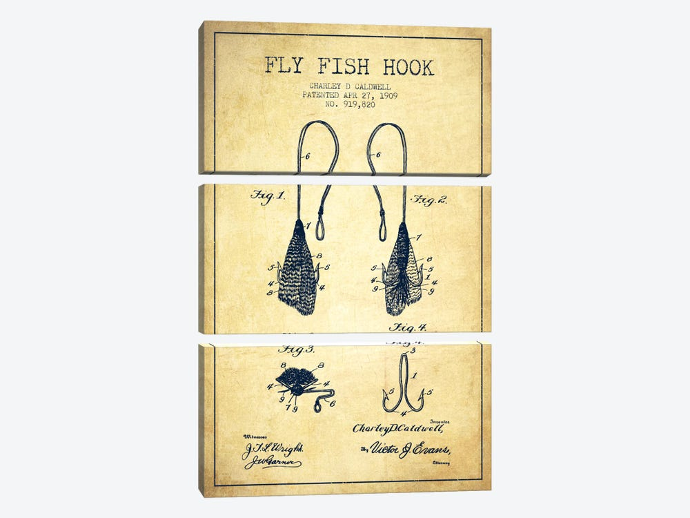 Flyfish Hook Vintage Patent Blueprint by Aged Pixel 3-piece Canvas Wall Art