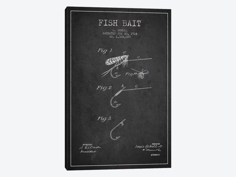 Fish Bait Charcoal Patent Blueprint by Aged Pixel 1-piece Canvas Print