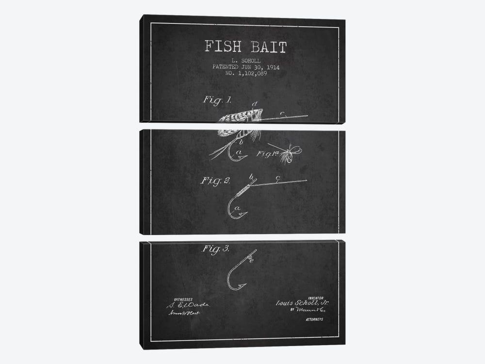 Fish Bait Charcoal Patent Blueprint by Aged Pixel 3-piece Canvas Print