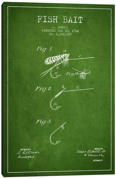 Fish Bait Green Patent Blueprint Canvas Art Print
