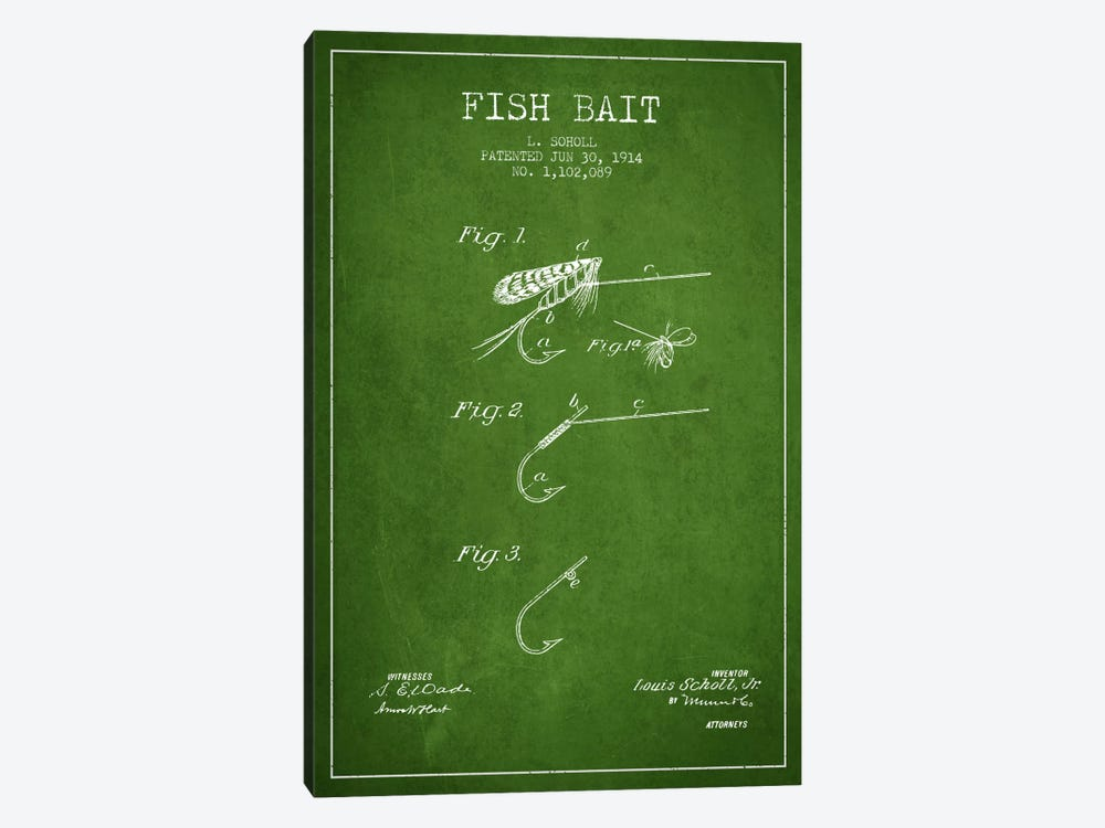 Fish Bait Green Patent Blueprint by Aged Pixel 1-piece Canvas Wall Art