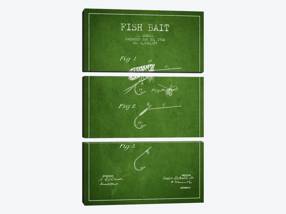 Fish Bait Green Patent Blueprint 3-piece Canvas Art