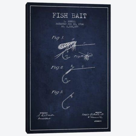 Fish Bait Navy Blue Patent Blueprint Canvas Print #ADP1246} by Aged Pixel Canvas Print