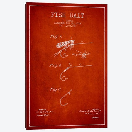 Fish Bait Red Patent Blueprint Canvas Print #ADP1247} by Aged Pixel Canvas Print